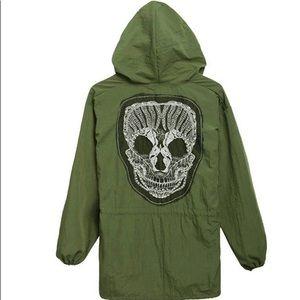 Army Green Loose Hooded Back Skull Jacket Coat
